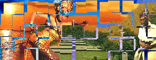 Landscape under Construction: Sunset, Dancer, Rice Field, and Man